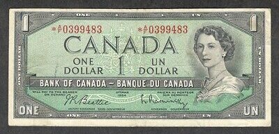 1954 *A/F $1.00 F+ Scarce ASTERISK REPLACEMENT NOTE Key QEII Canada One Dollar