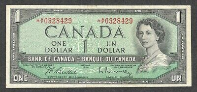 1954 *A/F $1.00 F+ Scarce ASTERISK REPLACEMENT NOTE * Key QEII Canada One Dollar