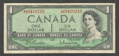 1954 *A/A $1.00 F ** Scarce ASTERISK REPLACEMENT NOTE Key QEII Canada One Dollar