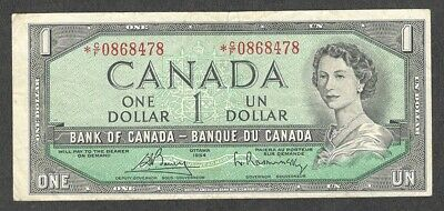 1954 *C/F $1.00 F+ Scarce ASTERISK REPLACEMENT NOTE Key QEII Canada One Dollar