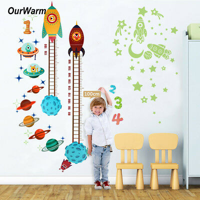 Planets Space Rocket Height Chart Measure Home Wall Sticker Kids Baby Room Decor