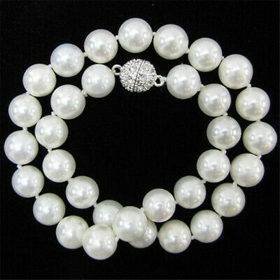 """10mm White South Sea Shell Pearl Necklace 18"""" Chic Charm Women Aurora"""