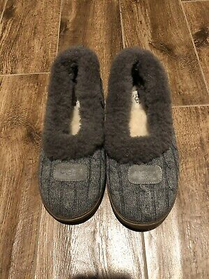 18ad073cf08 UGG AUSTRALIA RYLAN SLIPPERS WOMEN 9 GRAY Cable Knit Sweater Sheepskin Fur  Shoes