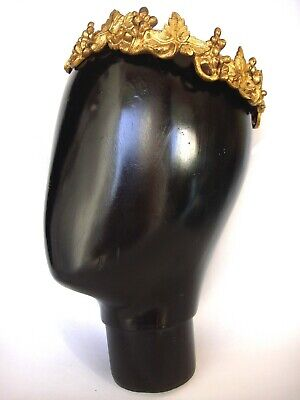 "Antique Gilt Solid Cast Brass Decorative 7 ¼"" Flora Crown From Figural Sculpture"
