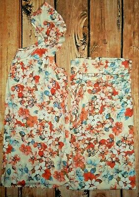 Jaclyn Smith White Floral Pajama Set Womens Size Small Nwot