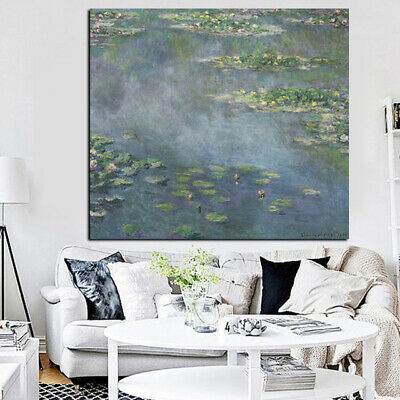 Water Lilies Claude Monet Canvas Reproduction Painting Print Wall Art (UNFRAMED)