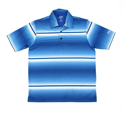 Men's Adidas Golf Polo Shirt Size Small Blue Striped T-Shirt Climalite