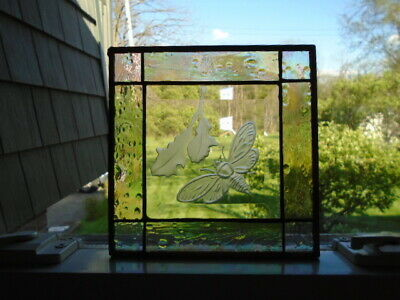 Vintage Leaded Stained Glass Window Planel