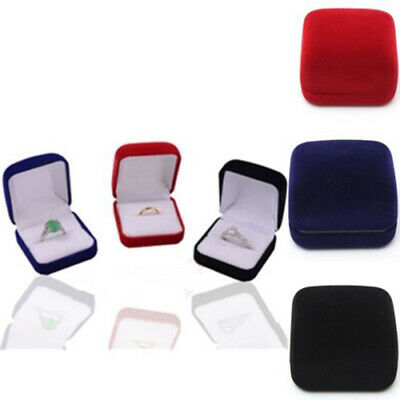 Square velvet Box Ring Earrings Display Storage Organizer Jewelry Case 4 Colors