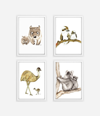 4 Australian Animal Print - nursery prints neutral gender nursery decor wombat
