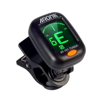 AROMA AT-101 Electric Guitar Tuner Foldable Rotating Clip Ukulele Tuner NEW