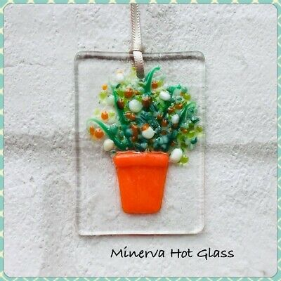 Fused Glass, Sun Catcher, Light Catcher, Yellow Plant with Flowers