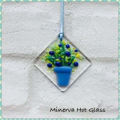 Fused Glass, Sun Catcher, Light Catcher, Red Plant. Pot with Flowers