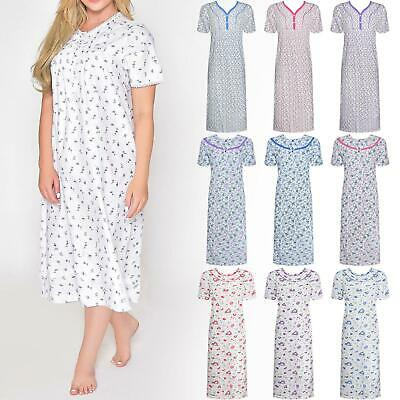 Womens Nightdress Long Nighty Cotton Nightwear Pjs Nighties Sleepwear Pyjamas