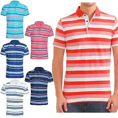 New Mens Polo Striped Shirts Pique Collared Short Sleeves Summer Tee Top T-Shirt