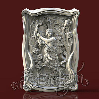 3D Model STL CNC Router Artcam Aspire Summer Girl Flowered Panel Cut3D Vcarve