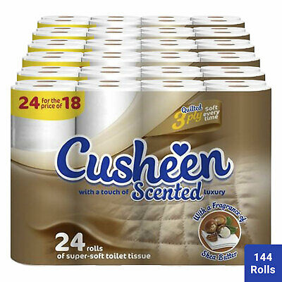 144 Rolls Cusheen Quilted Shea Butter 3 Ply Toilet Paper