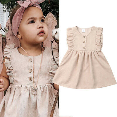 AU Toddler Infant Baby Girls Dress Princess Party Pageant Wedding Dress Clothes