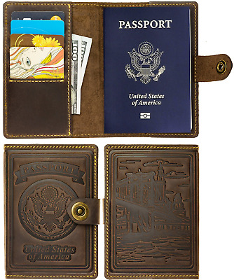 Villini - Leather RFID Blocking US Passport Holder Cover ID Card Wallet - Travel