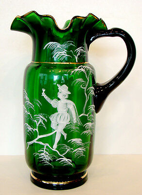 1800's ANTIQUE Vintage MARY GREGORY Victorian EMERALD GREEN GLASS Water Pitcher