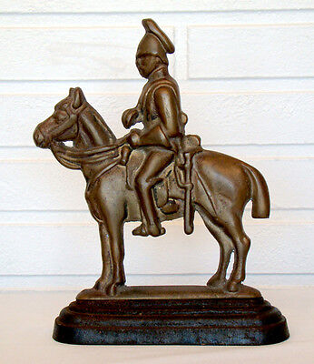 RARE! Vintage ANTIQUE Cast Iron Brass MILITARY SOLDIER ON HORSE-BACK Doorstop
