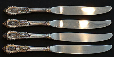 4 Vintage WALLACE Sterling Silver ROSE POINT Flatware DINNER PLACE KNIVES Knife