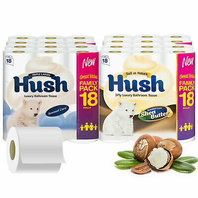 Hush Luxury White Or Shea Butter 3 Ply Toilet Paper - 54 / 108 / 162 Rolls