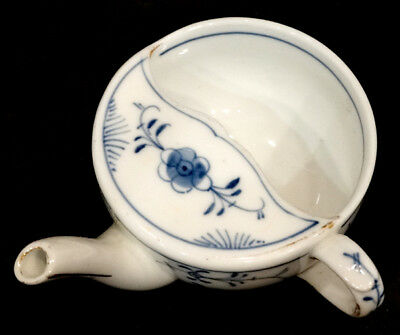 ANTIQUE Vintage INVALID FEEDER Porcelain PAP BOAT Cup BLUE ONION Marked Germany