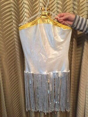 Silver Costume With Silver Tassles And Gold Trim Size 10