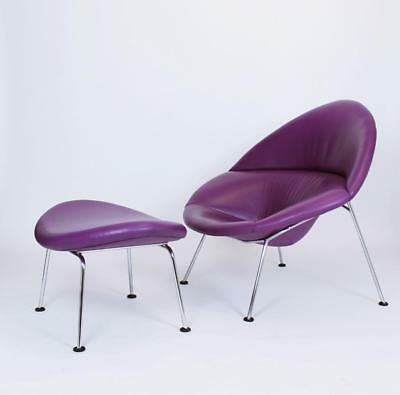 Rare Purple Leather Globe Lounge Chair & Ottoman by Pierre Paulin for Artifort