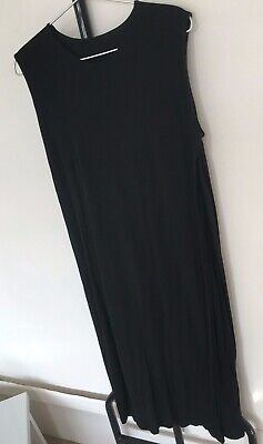BNWT NEXT Black tencel strappy tunic knee dress summer sun holiday beach party