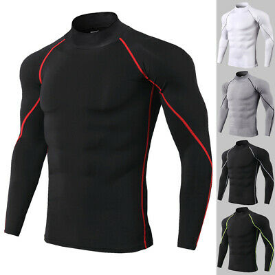 8b9d74ab7 Men's Compression Shirt Mock Neck Gym Top Dri-fit Long Sleeves Base Layer  Tight