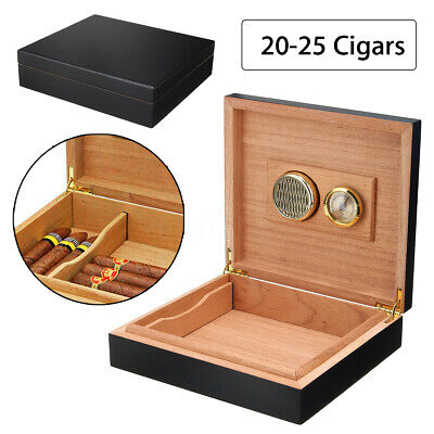 25 Count Cigar Humidor Humidifier Cedar Wooden Lined Case Box with Hygrometer