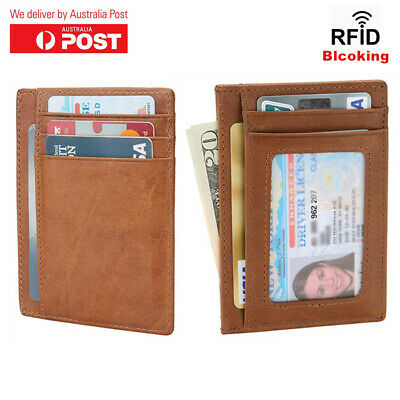 Men's RFID Slim Card Holder Genuine Leather Credit Card Wallet With ID Window