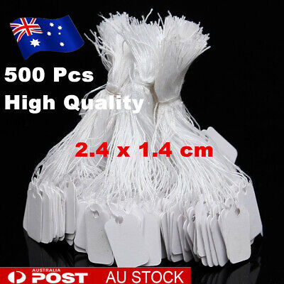 500 Pcs White Price Tags Label Paper String Tie Swing Jewellery Clothe AU