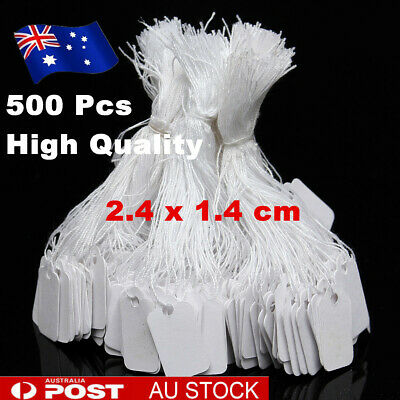 AU 500Pcs White Price Tags Label Paper String Tie Swing Jewellery Clothe