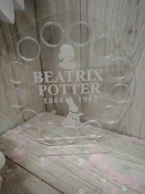 Beatrix Potter Clear glass case 50p 13 coins display Stand royal mint 2018