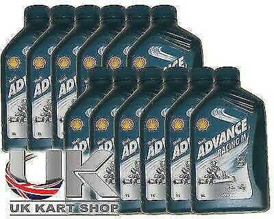 Shell Advance Racing M 2 Tempi Olio 1L x 12 Rotax Max Iame X30 Tkm UK Kart Store