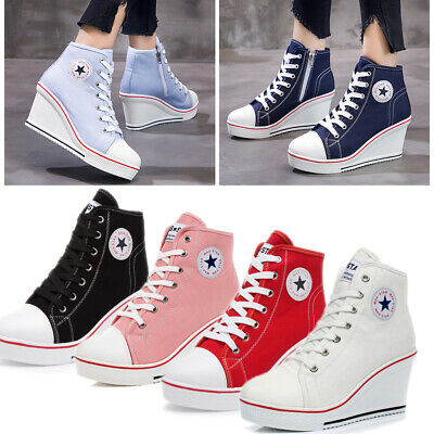 Plus Size Women High Top Canvas Shoes Wedge Heel Ankle Lace-Up Platform Sneakers