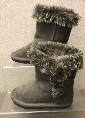 Girls Infant Next Grey Faux Fur Buckle Suede Slip On Winter Boots Fluffy Top