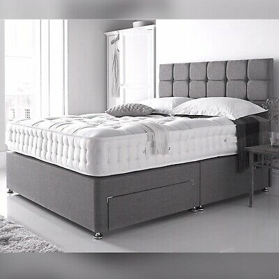 Grey Divan Bed with Orthopedic10' Foam Mattress 3FT Single 4FT6 Double King 5FT