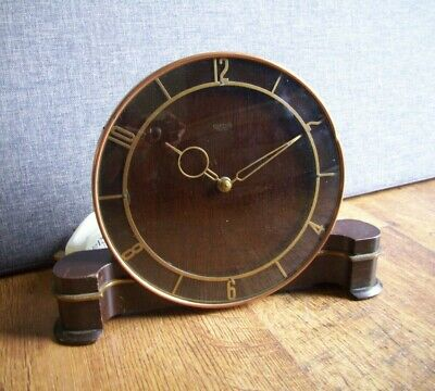 Antique 1930's Art Deco Smiths Sectric Mantel Clock (Oak Brass Copper Plug-in)