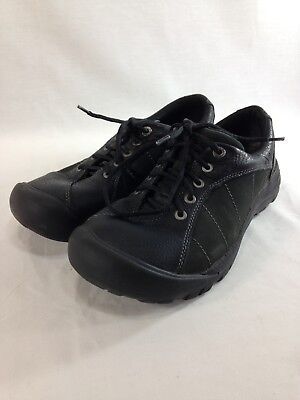 c48d60368e8 KEEN PRESIDIO BLACK Leather Nubuck Panel Laced Hiking Oxford Shoes ...