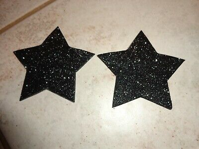Unisex Pasties/ Nipple Covers Glitter Black Stars
