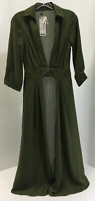 19804bb9a063 Boohoo Womens Shirley Plunge Neck Split Maxi Shirt Color Khaki US2/UK6 NWT+
