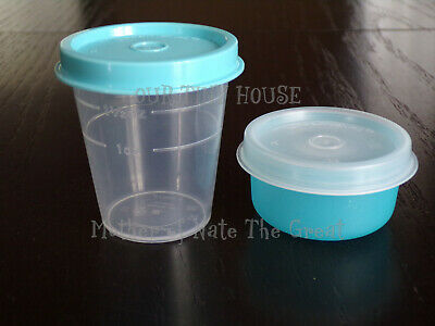 New TUPPERWARE SMIDGET and Midget SET Spice Dressing Mini Smidgets Pill Box BLUE