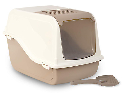 Rosewood Ariel Front Opening Hooded Cat Litter Tray, Large, Mocha