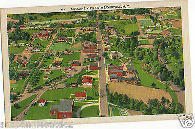 North Carolina Postcard 1940's WEAVERVILLE NC Aerial town view Buncombe county