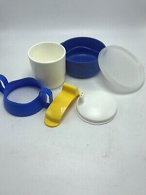 Tupperware Baby Feeding Set Blue White & Yellow No spill #2546 #2551 6 pc. New