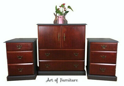 Bedroom Set of Chest of drawers Cabinet & 2 Bedside Tables hand painted Upcycled